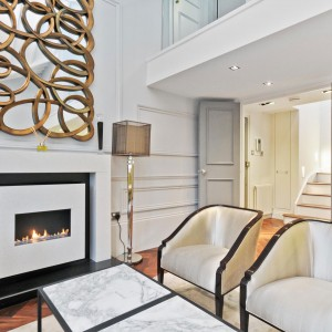 White Madre Perle Flueless Fireplace Installation