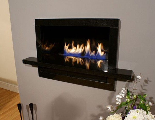 Bordino High Efficiency Fireplace In Black Stone