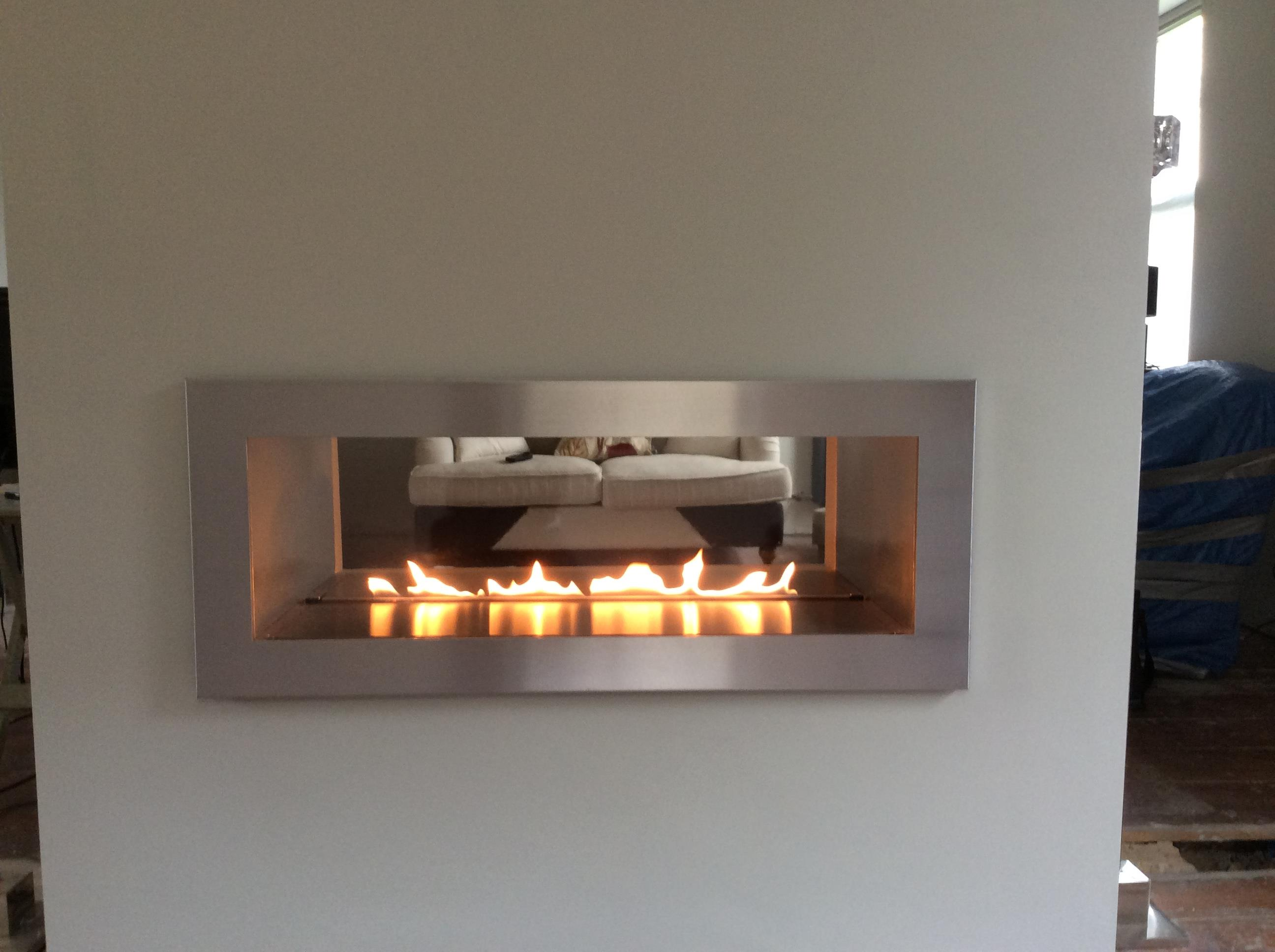 Fire river double sided ribbon gas fire for Double sided fireplace price