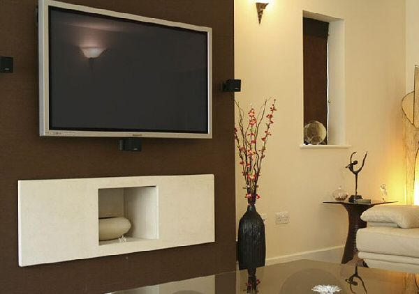 Vessel Hole In The Wall Gas Fire With TV Above