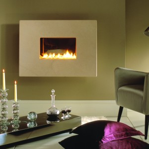 1 Piece Limestone Wall Hung Flueless Fire