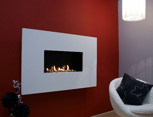 ANGEL RETRO : Pure White Corian Flueless Fireplace, White Flueless Gas Fire
