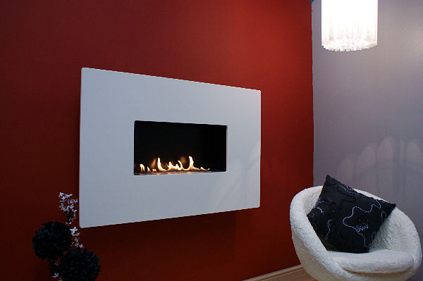 ANGEL RETRO : Pure White Corian Flueless Fireplace, White ...