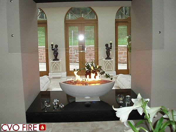 Properties by Arboretum, Large Oval White Fire Bowl with Black Granite Plinth