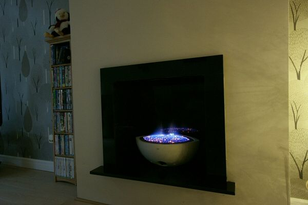 Small Oval Gas Fire Bowl with Black Granite Enclosure