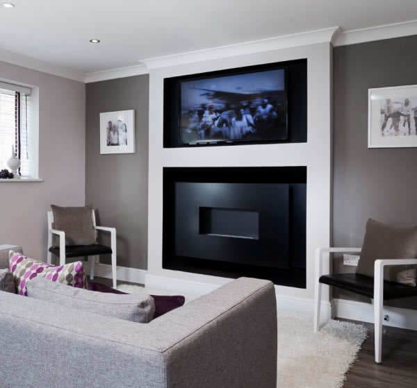 Recessed ANGEL Flueless Gas Fire Installation with TV Above