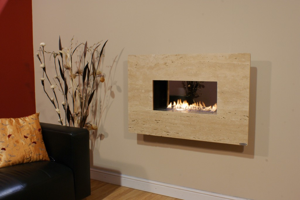 Wall Mounted Flueless With Stone Surround