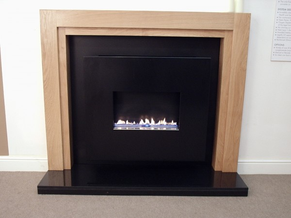 Traditional Flueless Gas Fire With Wooden Surround