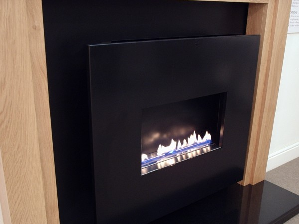 Traditional Flueless Gas Fire Suite With Black Steel Fascia
