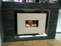 Recessed Flueless Fire With Polished Stainless Steel Interior