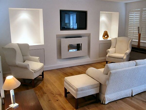 Recessed Flueless Fire With TV Installed Above